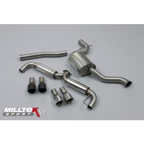 MILLTEK - Golf Mk6 GTi - Ligne après catalyseur origine - Avec silencieux Intermediaire - Dual 100mm GT-100 - Sorties Noires