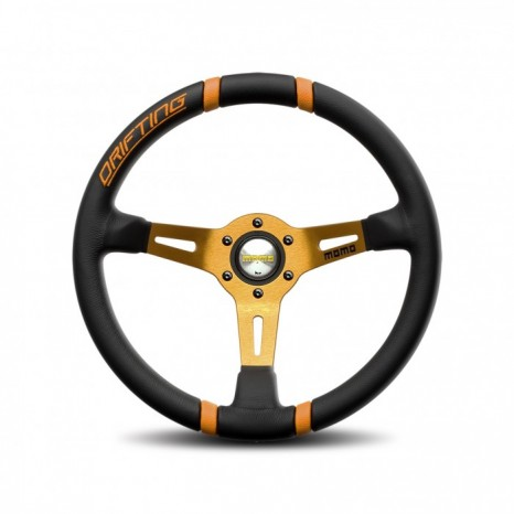 Volant DRIFTING MOMO - Noir/Orange Ø35