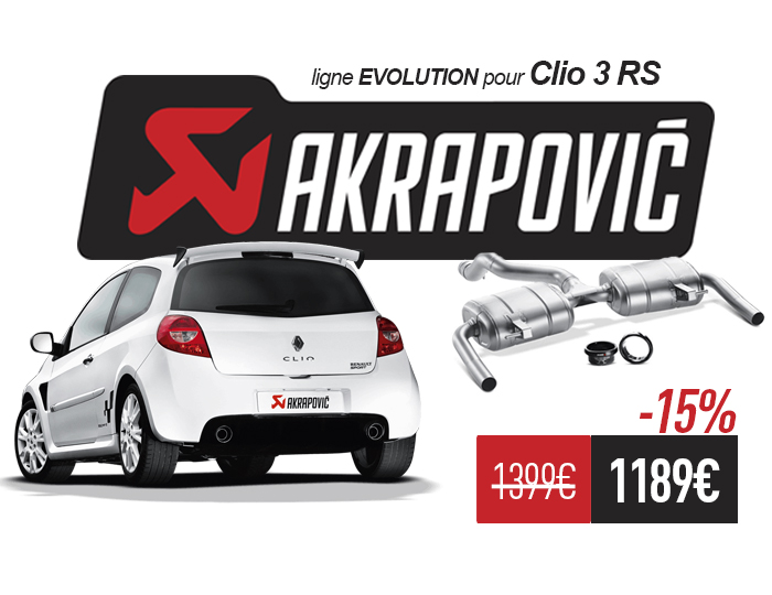 ligne evolution akrapovic pour clio 3 rs diapason motorsport. Black Bedroom Furniture Sets. Home Design Ideas